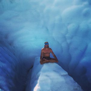 Wim Hof meditating on ice